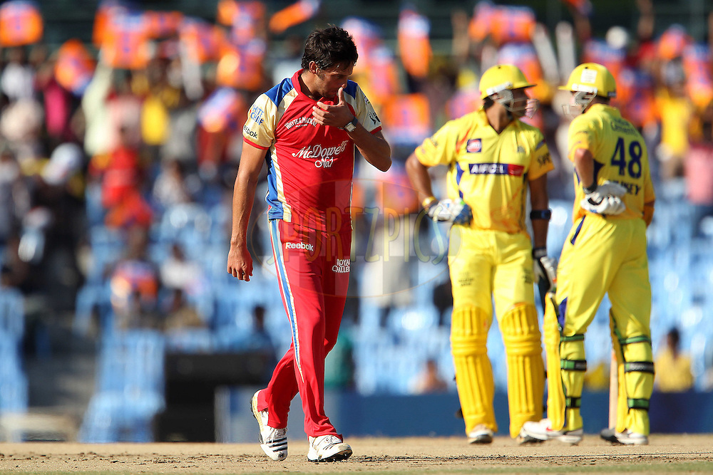 Johan van der Wath walks back as Michael Hussey and Murali Vijay chat during match 14 of the Indian Premier League ( IPL ) Season 4 between the Chennai Superkings and The Royal Challengers Bangalore held at the MA Chidambaram Stadium in Chennai, Tamil Nadu, India on the 16th April 2011..Photo by Ron Gaunt/BCCI/SPORTZPICS