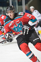 KELOWNA, CANADA, NOVEMBER 9: Austin Ferguson #28 of the Kelowna Rockets skates on the ice as the Red Deer Rebels visit the Kelowna Rockets  on November 9, 2011 at Prospera Place in Kelowna, British Columbia, Canada (Photo by Marissa Baecker/Shoot the Breeze) *** Local Caption ***