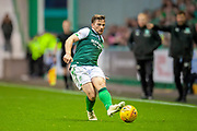 Lewis Stevenson (#16) of Hibernian FC passes the ball during the Ladbrokes Scottish Premiership match between Hibernian and St Johnstone at Easter Road, Edinburgh, Scotland on 3 November 2018.