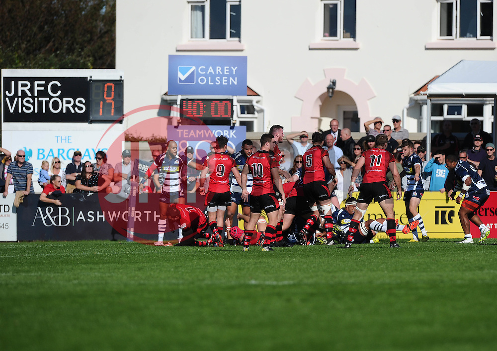 Bristol hold firm i the dining moments of the first half  - Mandatory byline: Joe Meredith/JMP - 07966386802 - 26/09/2015 - RUGBY - St. Peter -Saint Peter,Jersey - Jersey Rugby v Bristol Rugby - Greene King IPA Championship