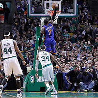 04 March 2012: New York Knicks small forward Carmelo Anthony (7) dunks the ball during the first half of Boston Celtics vs the New York Knicks at the TD Garden, Boston, Massachusetts, USA.