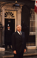 """Walter Cronkite doing a """"stand-up"""" in front of Number 10 Downing Street in London in May 1977..Photograph by Dennis Brack bb 21"""