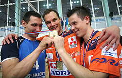 Alan Komel of Salonit, Rok Satler and Matija Plesko of ACH Volley at 4th and final match of Slovenian Voleyball  Championship  between OK Salonit Anhovo (Kanal) and ACH Volley (from Bled), on April 23, 2008, in Kanal, Slovenia. The match was won by ACH Volley (3:1) and it became Slovenian Championship Winner. (Photo by Vid Ponikvar / Sportal Images)/ Sportida)