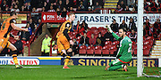 Sam Clucas runs off to celebrate his goal during the Sky Bet Championship match between Brentford and Hull City at Griffin Park, London, England on 3 November 2015. Photo by Michael Hulf.