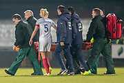 Steph Houghton (Captain) (England) (Manchester City) goes across to console Alice Parisi (Italy) (Darl Fiorentina) as she is taken off on a stretcher during the Women's International Friendly match between England Ladies and Italy Women at Vale Park, Burslem, England on 7 April 2017. Photo by Mark P Doherty.