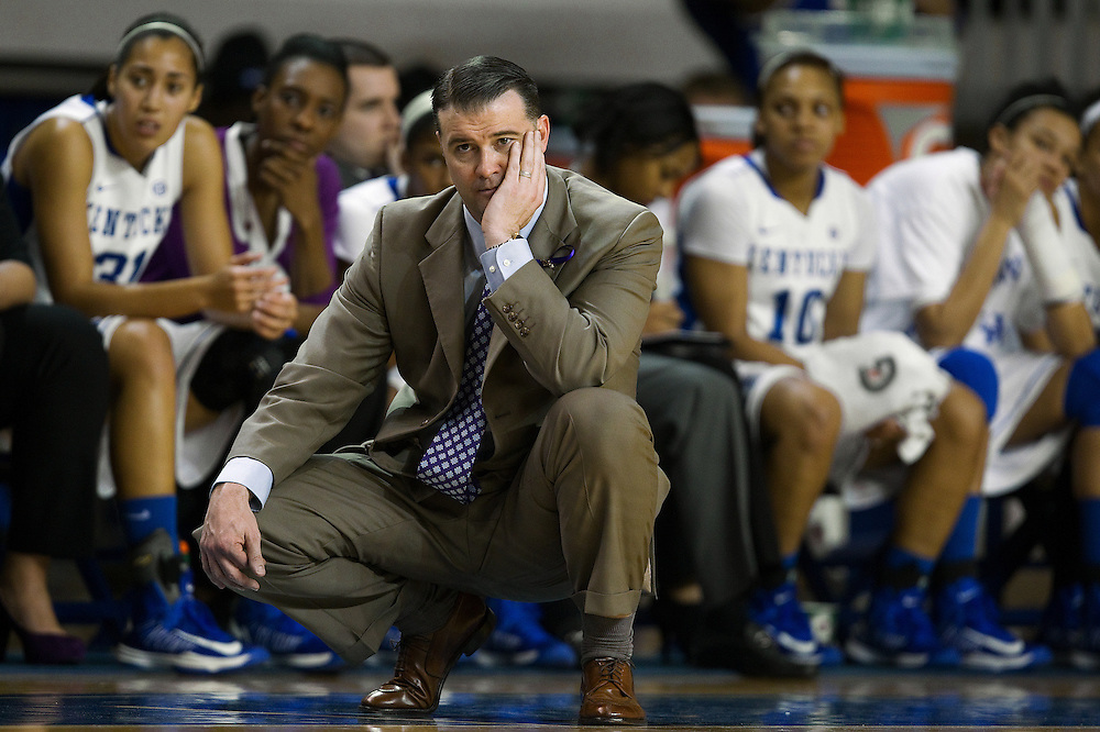 UK head coach Matthew Mitchell watches his team in the first half. The University of Kentucky Women hosted Mississippi State University Thursday, Jan. 17, 2013 at Memorial Coliseum in Lexington. Photo by Jonathan Palmer