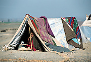 An Afghan refugee woman waits in a makeshift tent at the New Akora Khattak camp near Peshawar, Pakistan. 2001
