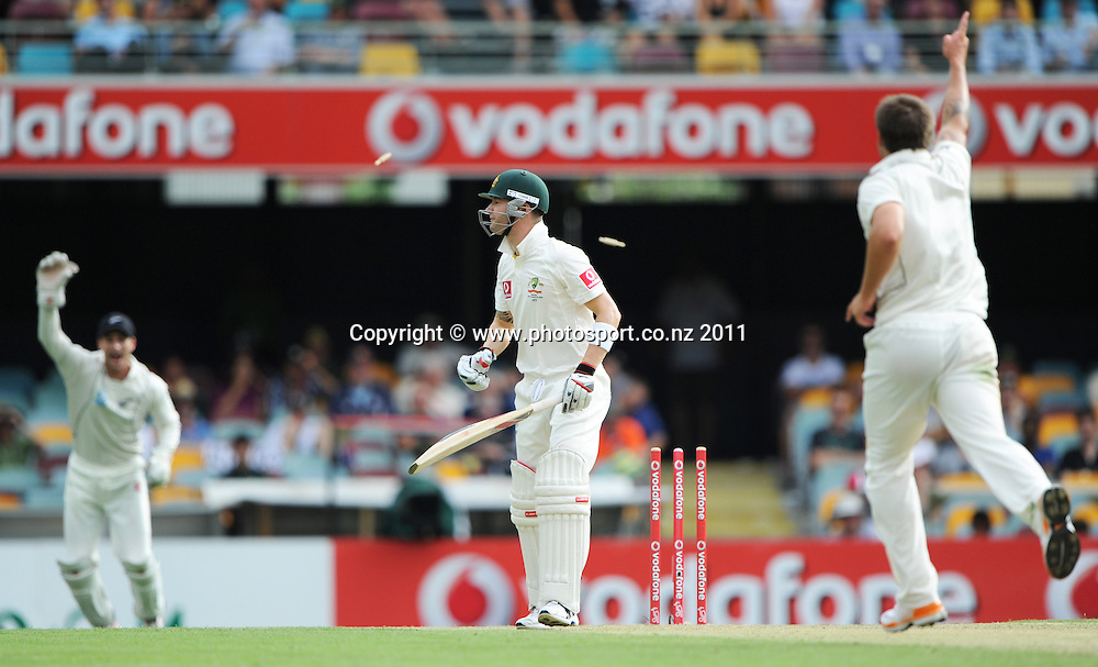 Australian captain Michael Clarke is bowled by Doug Bracewell but not out after a no ball on Day 2 of the first cricket test between Australia and New Zealand Black Caps at the Gabba in Brisbane, Thursday 1 December 2011. Photo: Andrew Cornaga/Photosport.co.nz