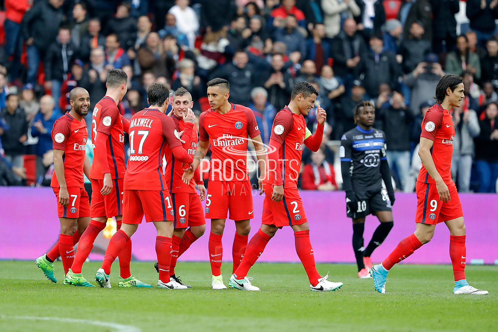 Marco Verratti (psg) scored the second goal and celebrated it with Maxwell Scherrer Cabelino Andrade (psg), Marcos Aoas Correa dit Marquinhos (PSG), Julian Draxler (PSG), Lucas Rodrigues Moura da Silva (psg), Thiago Silva (PSG), Edinson Roberto Paulo Cavani Gomez (psg) (El Matador) (El Botija) (Florestan), Lyes HOURI (SC Bastia) during the French championship Ligue 1 football match between Paris Saint-Germain (PSG) and Bastia on May 6, 2017 at Parc des Princes Stadium in Paris, France - Photo Stephane Allaman / ProSportsImages / DPPI