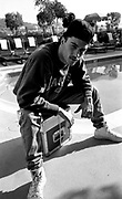 Techno DJ Joey Beltram on the roof of a hotel in L.A. before he set off for a gig in Mexico. The gig was cancelled just as the party arrived at the mexican border. The tour turned round and returned to Los Angeles 1990/1