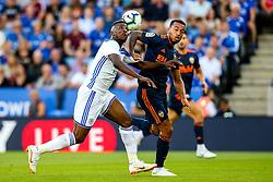 Kelechi Iheanacho of Leicester City challenges Jeison Murillo of Valencia - Mandatory by-line: Robbie Stephenson/JMP - 01/08/2018 - FOOTBALL - King Power Stadium - Leicester, England - Leicester City v Valencia - Pre-season friendly