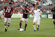 July 24th, 2012:  Colorado Rapids forward Kamani Hill (13) attacks the visiting Swansea City AFC in a international friendly soccer match that the Rapids would win, 2-1, in Denver, CO.