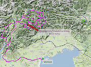 Rosengarten/Catinaccio Dolomites and Venice locater map, Italy, Europe (from Google Earth).