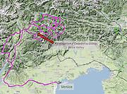 Rosengarten/Catinaccio Dolomites and Venice locater map, Italy, Europe (from Google Earth).