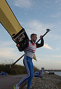 Caversham, Reading, Great Britain,  John Collins, carries his single onto the pontoon at the   GBRowing Training Session, Water and Gym/Ergo, at the National Training Base, Berkshire, England.<br /> <br /> Wednesday  18/11/2015<br /> <br /> [Mandatory Credit; Peter Spurrier/Intersport-images]
