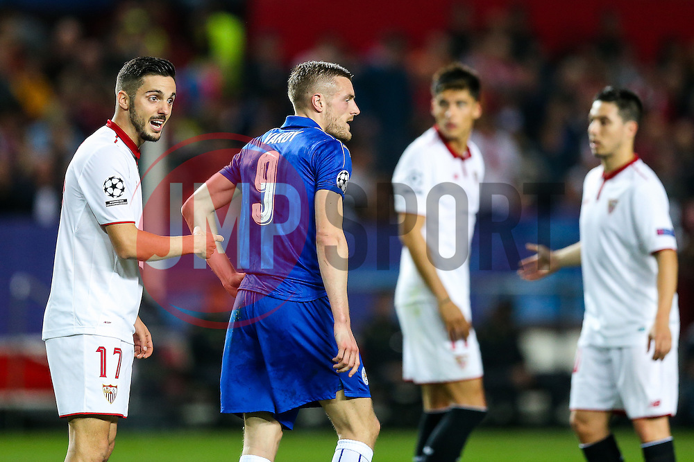 Pablo Sarabia of Sevilla points at Jamie Vardy of Leicester City - Rogan Thomson/JMP - 22/02/2017 - FOOTBALL - Estadio Ramon Sanchez Pizjuan - Seville, Spain - Sevilla FC v Leicester City - UEFA Champions League Round of 16, 1st Leg.