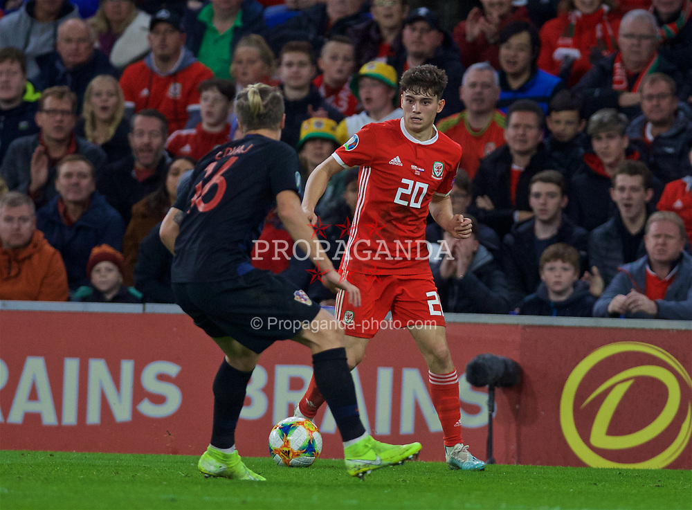 CARDIFF, WALES - Sunday, October 13, 2019: Wales' Daniel James during the UEFA Euro 2020 Qualifying Group E match between Wales and Croatia at the Cardiff City Stadium. (Pic by Laura Malkin/Propaganda)