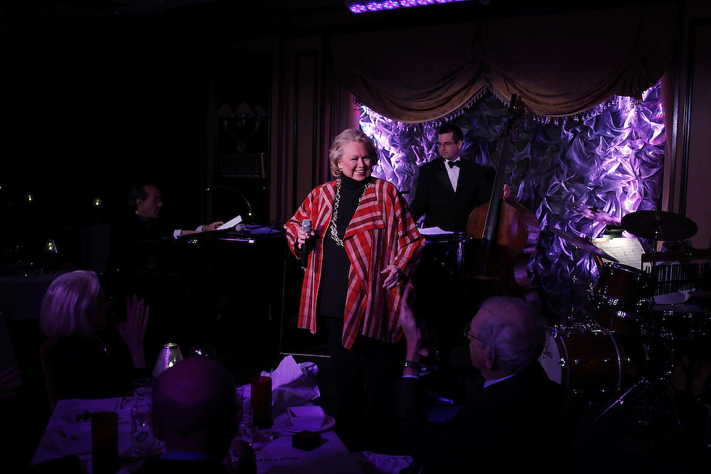"Singer Barbara Cook performs ""Here's To Life"" with Music Director and Pianist Lee Musikler, Peter Donovan on Bass, Percussionist James Saporito and Lawrence Feldman on Woodwinds  at Feinstein's on April 14, 2009 in New York city. photo by Joe Kohen for the New York times"