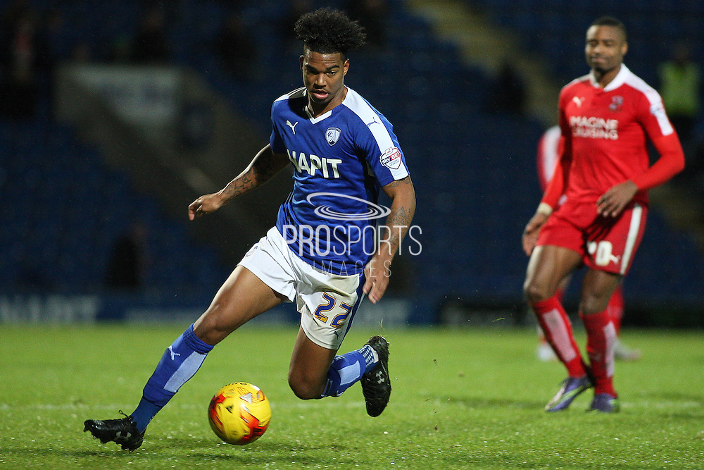 Chesterfield FC forward Rai Simons on the attack during the Sky Bet League 1 match between Chesterfield and Swindon Town at the Proact stadium, Chesterfield, England on 28 November 2015. Photo by Aaron Lupton.