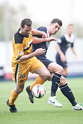 Dumbarton's Garry Fleming and Falkirk's Jonathan Flynn.<br /> Falkirk 1 v 2 Dumbarton, Scottish Championship game played today at the Falkirk Stadium.<br /> &copy;Michael Schofield.