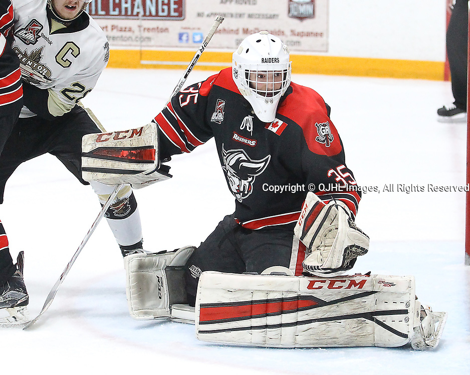 TRENTON, ON  - MAY 3,  2017: Canadian Junior Hockey League, Central Canadian Jr. &quot;A&quot; Championship. The Dudley Hewitt Cup Game 4 between Georgetown Raiders and Trenton Golden Hawks.   Nicholas Latinovich #35 of the Georgetown Raiders looks for the puck during the third period<br /> (Photo by Alex D'Addese / OJHL Images)
