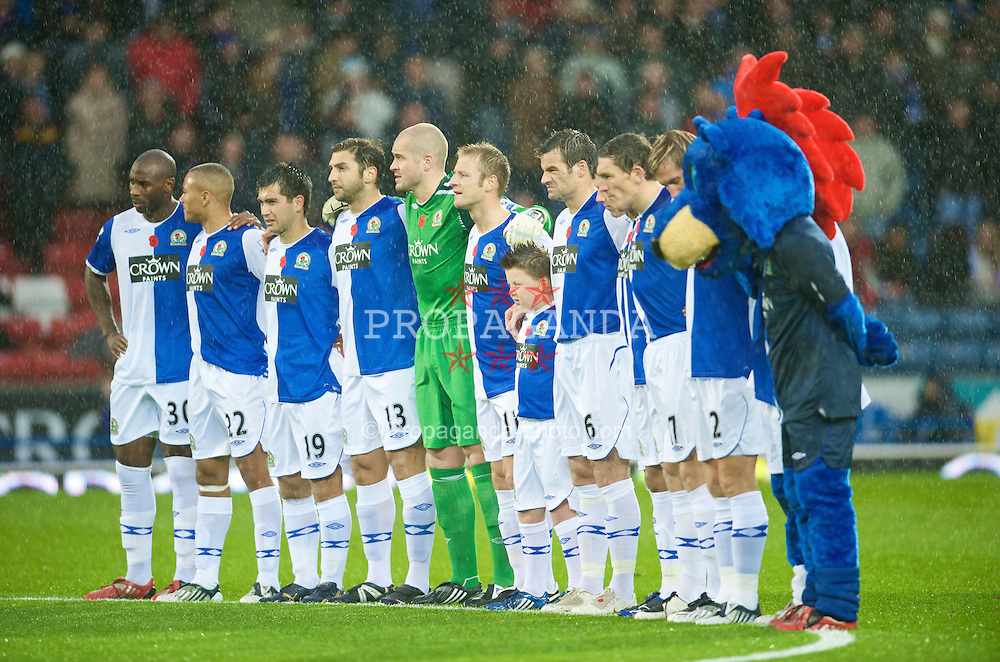 BLACKBURN, ENGLAND - Sunday, November 9, 2008: Blackburn Rovers players stand for a minute's silence on Remembrance Sunday during the Premiership match at Ewood Park. (Photo by David Rawcliffe/Propaganda)