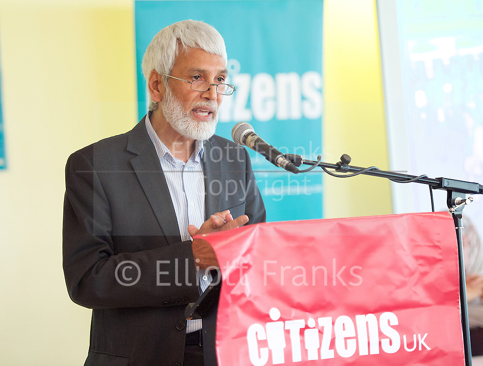 East London Citizens UK and TELCO <br /> Tower Hamlets Mayoral Election event at the WaterLily, Mile End Road, London, Great Britain <br /> 3rd June 2015 <br /> <br /> Dr Muhammad Abdul Bari<br /> <br /> Photograph by Elliott Franks <br /> Image licensed to Elliott Franks Photography Services