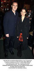 LISE MEYER and ANGUS DEAYTON he is the TV presenter, at a party in London on 10th December 2003.PPM 120