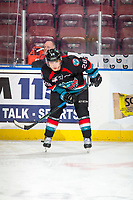 KELOWNA, CANADA - DECEMBER 1:  Leif Mattson #28 of the Kelowna Rockets warms up against the Saskatoon Blades on December 1, 2018 at Prospera Place in Kelowna, British Columbia, Canada.  (Photo by Marissa Baecker/Shoot the Breeze)