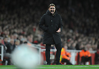 Football - 2017 / 2017 EFL (League) Cup - Fourth Round: Arsenal vs. Norwich City<br /> <br /> German Norwich Manager, Daniel Farke shouts out instuctions at The Emirates.<br /> <br /> COLORSPORT/ANDREW COWIE