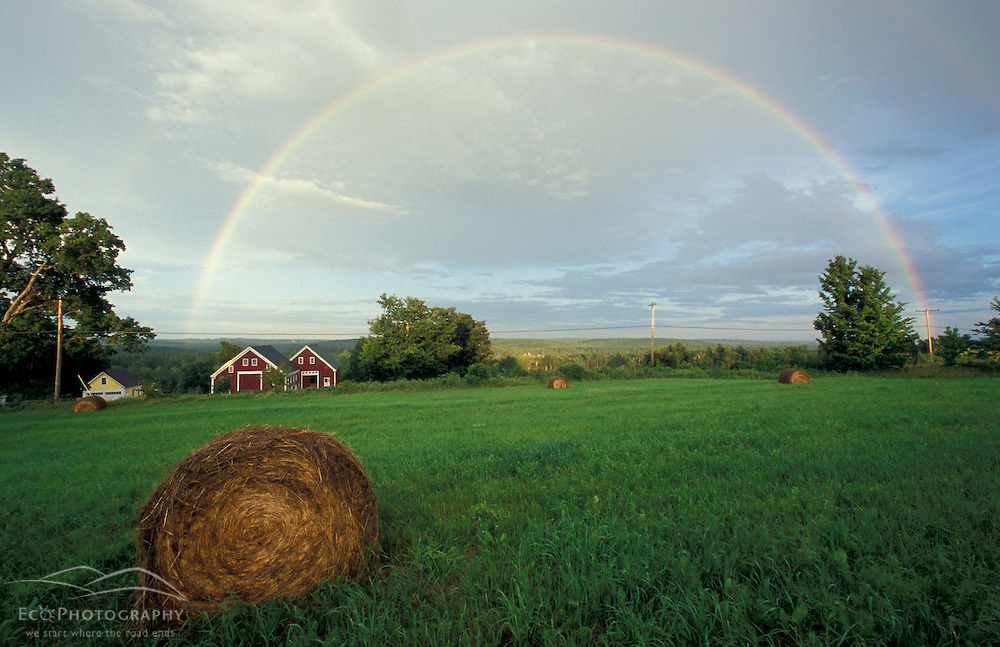 New Gloucester, ME..A rainbow arcs over a hayfield at  the Sabbathday Lake Shaker Village.