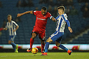 Leyton Orient striker Jay Simpson (27) and Brighton & Hove Albion striker Solomon March (20) during the EFL Trophy Southern Group G match between U23 Brighton and Hove Albion and Leyton Orient at the American Express Community Stadium, Brighton and Hove, England on 8 November 2016.
