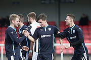 Dundee's Josh Skelly and Ryan Gemmell congratulate John Black on his winning goal - Dunfermline Athletic v Dundee - SPFL Development League <br />  <br />  - &copy; David Young - www.davidyoungphoto.co.uk - email: davidyoungphoto@gmail.com