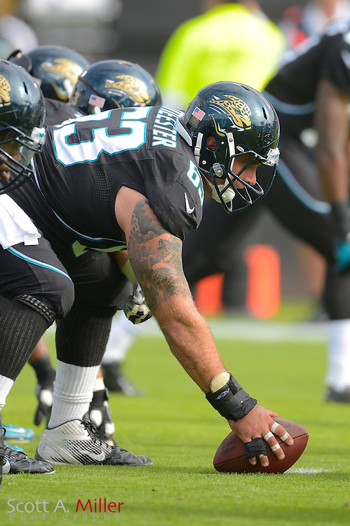 Jacksonville Jaguars center Brad Meester (63) during an NFL game against the New York Jets at EverBank Field on Dec 9, 2012 in Jacksonville, Florida. The Jets won 17-10...©2012 Scott A. Miller..