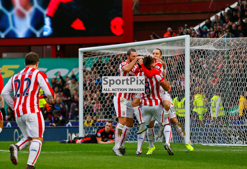 Stoke celebrate with Bojan after opening the score during Stoke City v Manchester United, Barclays Premier League, Saturday 26th December 2015, Britannia Stadium, Stoke
