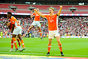 Brad Potts (8) of Blackpool celebrates the 2-1 win over Exeter during the EFL Sky Bet League 2 play off final match between Blackpool and Exeter City at Wembley Stadium, London, England on 28 May 2017. Photo by Graham Hunt.