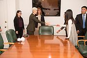 Grok program officers meet President Duane Nellis in Cutler Hall. Photo by Ben Siegel