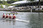Henley, Great Britain.  Henley Royal Regatta. M4-, Oxford Brookes University 'A' [Bucks], lead Durham University [Berks], as they pass the Grandstands, in the semi-final, of the Prince Albert Challenge Cup. River Thames Henley Reach.  Royal Regatta. River Thames Henley Reach.  Saturday  02/07/2011  [Mandatory Credit  Intersport Images] . HRR