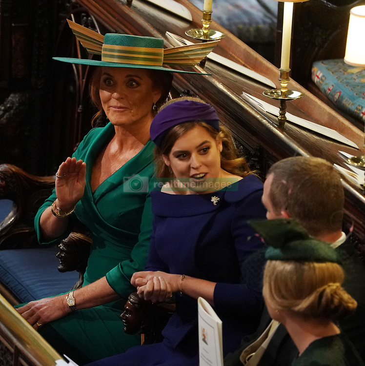 Sarah ferguson and Princess Beatrice at the wedding of Princess Eugenie to Jack Brooksbank at St George's Chapel in Windsor Castle.