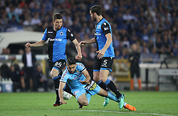 April 19, 2018 - Brugge, BELGIUM - Club's Brandon Mechele, Charleroi's Kaveh Rezaei and Club's Benoit Poulain fight for the ball during the Jupiler Pro League match between Club Brugge and Sporting Charleroi, in Brugge, Thursday 19 April 2018, on day four of the Play-Off 1 of the Belgian soccer championship. BELGA PHOTO VIRGINIE LEFOUR (Credit Image: © Virginie Lefour/Belga via ZUMA Press)