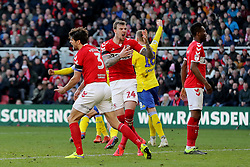 Middlesbrough's Aden Flint and Middlesbrough's George Friend react after Leeds score their first goal during the Sky Bet Championship match at The Riverside Stadium, Middlesbrough.