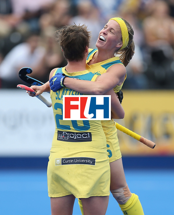 LONDON, ENGLAND - JUNE 18: Kathryn Slattery of Australia celebrates scoring their first goal during the FIH Women's Hockey Champions Trophy match between USA and Australia at Queen Elizabeth Olympic Park on June 18, 2016 in London, England.  (Photo by Alex Morton/Getty Images)