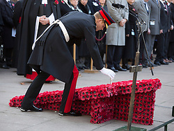 LONDON- UK - 06-NOV-2014: Prince Harry visits the Field of Remembrance at Westminster Abbey . His Royal Highness arrives at the Field of Remembrance and will be met by The Dean of Westminster, The Sub-Dean and Rector of St. Margaret&rsquo;s Church, the President of the Royal British Legion Poppy Factory and members of The Royal British Legion Poppy Factory.<br /> Photograph by Ian Jones