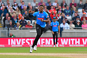 Wicket - Chris Jordan of Sussex celebrates taking the wicket of Lewis Gregory of Somerset during the Vitality T20 Finals Day semi final 2018 match between Sussex Sharks and Somerset County Cricket Club at Edgbaston, Birmingham, United Kingdom on 15 September 2018.