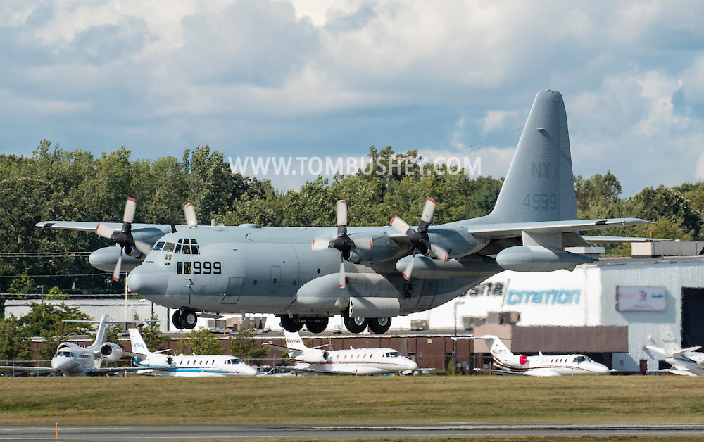 A C-130J Hercules approaches a runway at  Stewart International Airport  on Aug. 27. 2015. The planewill be part of the static aircraft display at the New York Air Show at Stewart on Aug. 29-30.