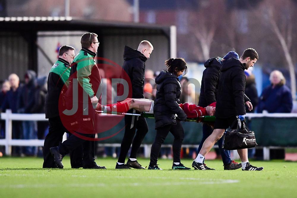 Meaghan Sargeant of Bristol City leaves the field on a stretcher - Mandatory by-line: Ryan Hiscott/JMP - 19/01/2020 - FOOTBALL - Stoke Gifford Stadium - Bristol, England - Bristol City Women v Liverpool Women - Barclays FA Women's Super League