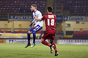 Bury midfielder Danny Mayor  chips the ball back ito the box during the The FA Cup match between Bradford City and Bury at the Coral Windows Stadium, Bradford, England on 19 January 2016. Photo by Simon Davies.