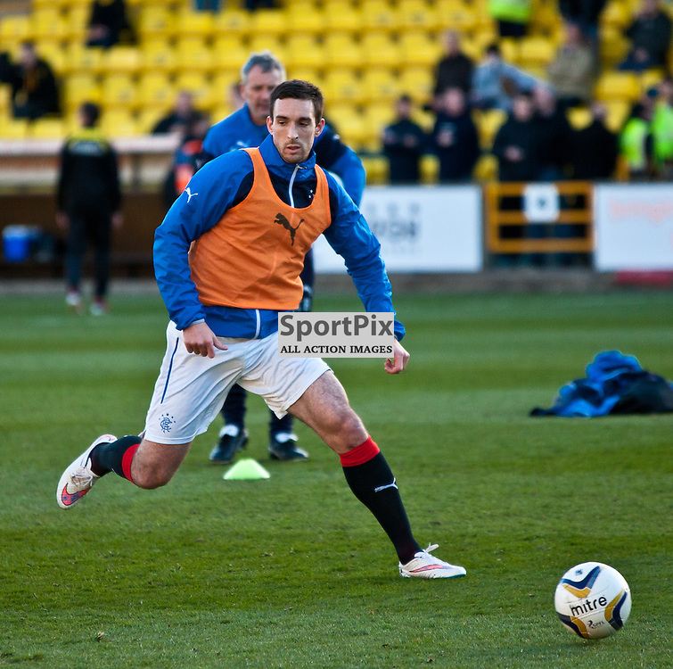 Livingston v Rangers; Scottish Championship; 15 April 2015; Rangers' Lee Wallace warms up before the Livingston v Rangers Scottish Championship match played at The Energy Assets Arena; © Chris Johnston | SportPix.org.uk