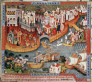 Marco Polo (1254-1324) setting out from Venice with his father and uncle, 1271, for court of Kublai Khan where they arrive 1275. Travels of Marco Polo, 15th century manuscript.