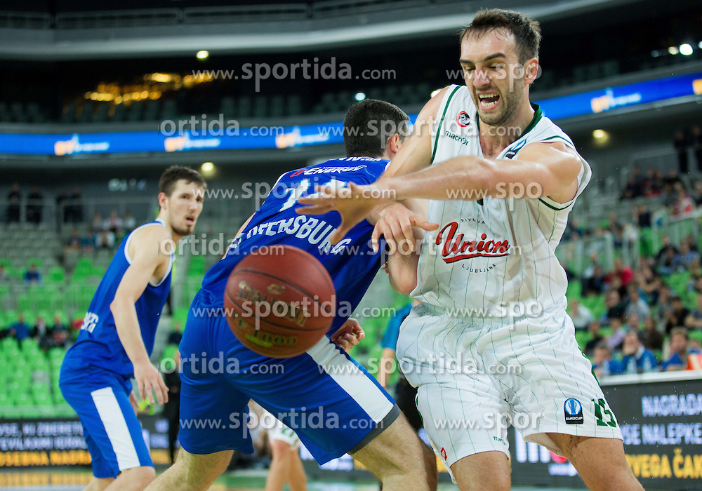 Dejan Borovnjak of Zenit vs Mirza Begic #15 of KK Union Olimpija during basketball match between KK Union Olimpija (SLO) and Zenit St. Petersburg (RUS) in 4th Round of EuroCup 2014/15, on November 4, 2014 in Arena Stozice, Ljubljana, Slovenia. Photo by Vid Ponikvar / Sportida
